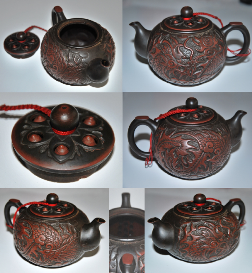 Teekanne, Ton, chinesischer Yi Xing-Stil, Drachen/Phoenix-Motiv, Taiwanesische Ton-Keramik