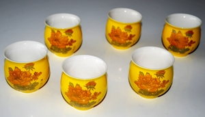 Chinesisches Teebecher / Teetassen-Set, Porzellan, doppelwandig, henkellos