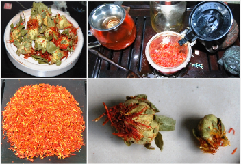 Safflower tea from Thailand: petals, whole flowers, tisane / infusion tea